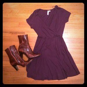 Francescas Knit Purple Wrap Dress